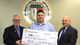 Pictured left to right Dr. Chris Reber, CCBC President; Joe Minnitte, External Relations Advisor at Shell; and John Goberish, Dean of Continuing Education and Workforce Development at CCBC