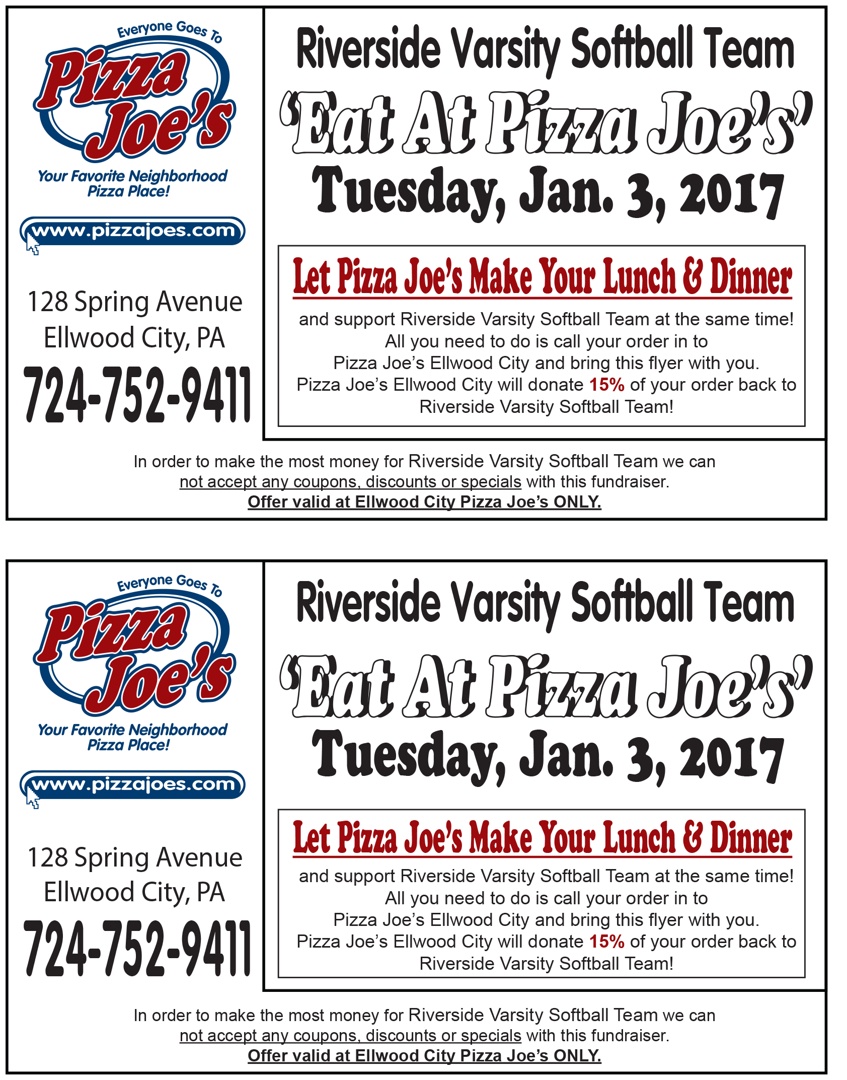 Riverside pizzeria coupons