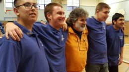 Members of the bocce team pose with a Lincoln High teacher