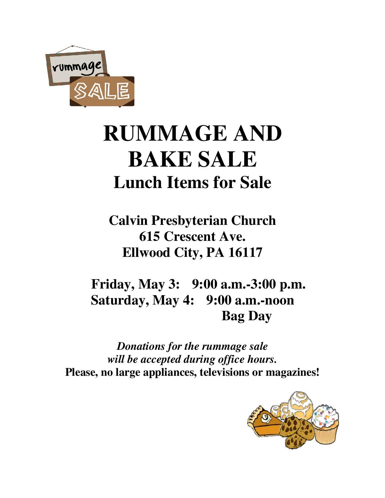 Calvin Presbyterian Church Set To Host Rummage And Bake Sale