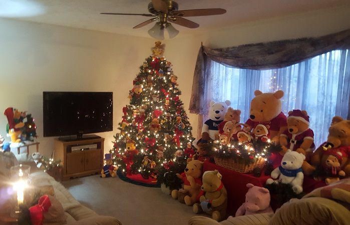 i now have three full sized trees decorated in winnie the pooh stuffed animals i have my oak railing decorated with a collection of horoscope winnie the - Winnie The Pooh Christmas Decorations